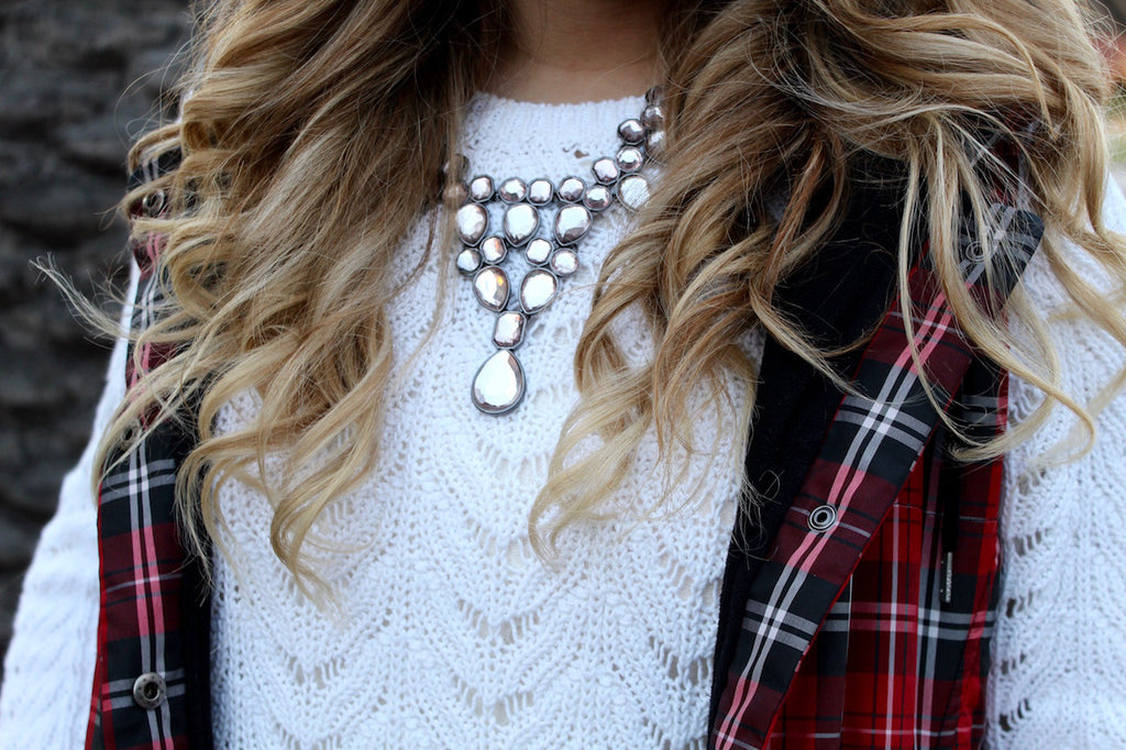 rhinestone necklace | red plaid vest | queen bee fashion blog