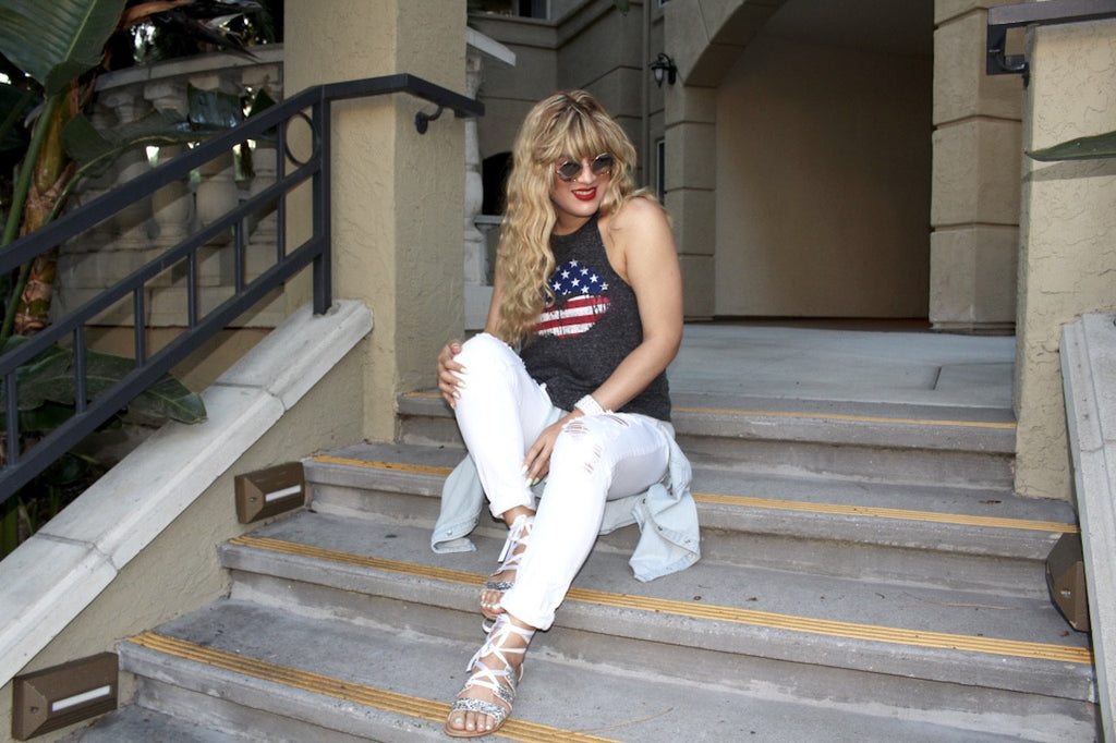 white jeans outfit | 4th of July