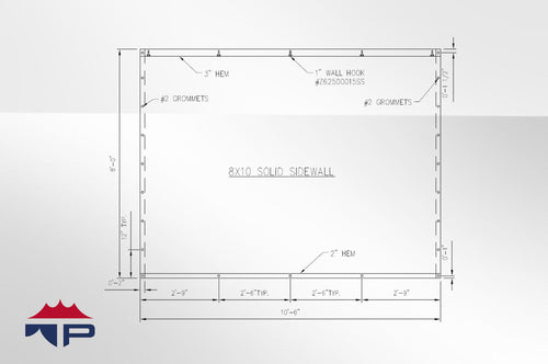 8'x10' Solid Wall- White