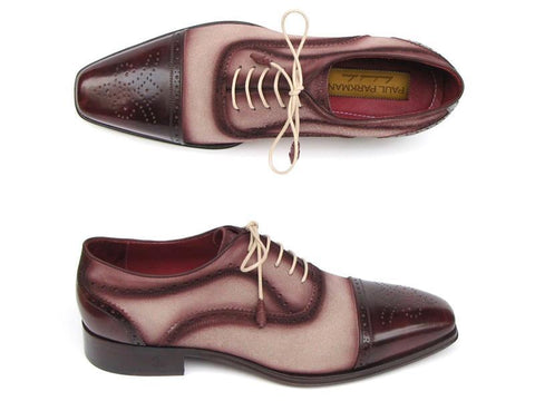 Paul Parkman Men's Captoe Oxfords - Bordeaux / Beige Hand-Painted Suede Upper and Leather Sole (ID#024-BRR)