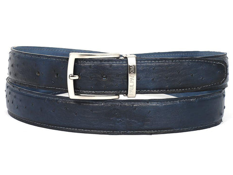 PAUL PARKMAN Men's Navy Genuine Ostrich Belt (ID#B04-NVY)