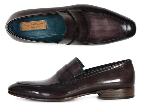 Paul Parkman Men's Loafer Black & Gray Hand-Painted Leather Upper with Leather Sole (ID#093-GRAY)