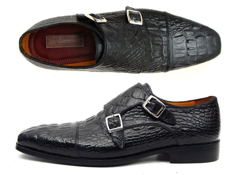 Paul Parkman Men's Double Monkstraps Black Crocodile Embossed Calfskin (ID#045BK41)