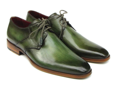 Paul Parkman Men's Green Hand-Painted Derby Shoes Leather Upper and Leather Sole (ID#059-GREEN)