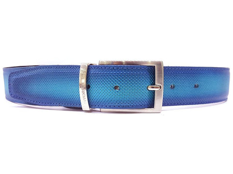 PAUL PARKMAN Men's Perforated Leather Belt Turquoise (ID#B08-TRQ)