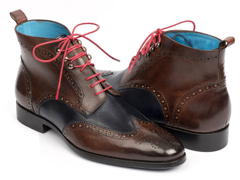 Paul Parkman Wingtip Ankle Boots Dual Tone Brown & Blue (ID#777-BRW-BLU)