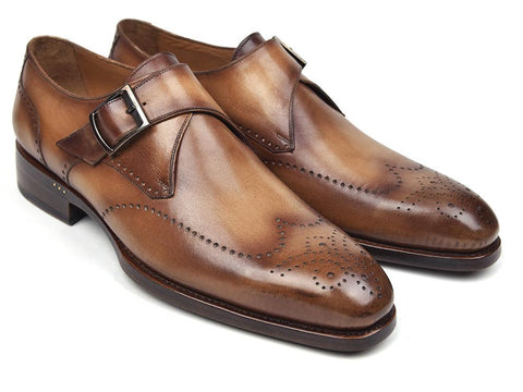 Paul Parkman Wingtip Single Monkstraps Brown & Camel (ID#98F54-BRW)