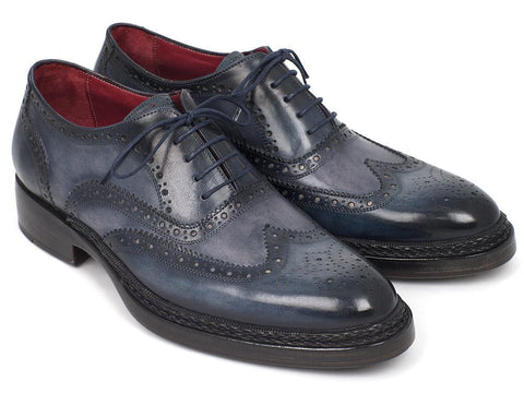 Paul Parkman Men's Triple Leather Sole Wingtip Brogues Blue (ID#027-TRP-BLU)
