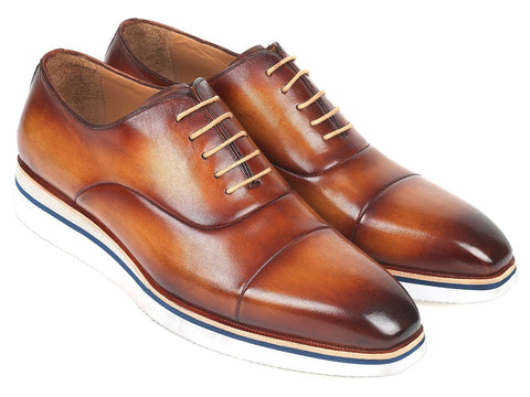 Paul Parkman Men's Smart Casual Oxfords Brown&Camel Leather (ID#185-BRW-LTH)