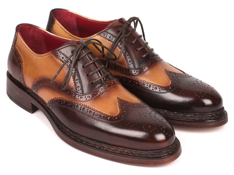 Paul Parkman Wingtip Oxfords Goodyear Welted Brown & Beige (ID#027-BJBRW)