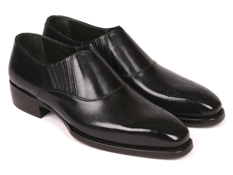 Paul Parkman Goodyear Welted Black Elasticated Loafers (ID#GH861TR)