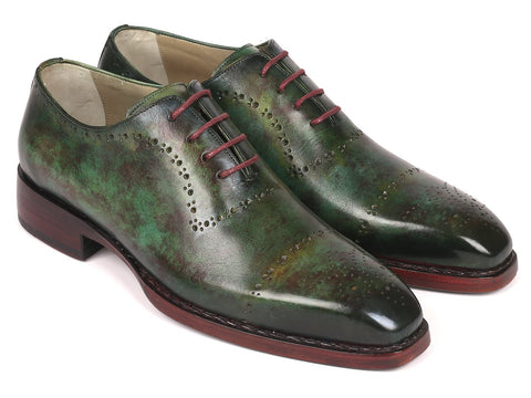 Paul Parkman Green Marble Patina Goodyear Welted Oxfords (ID#56GRN37)
