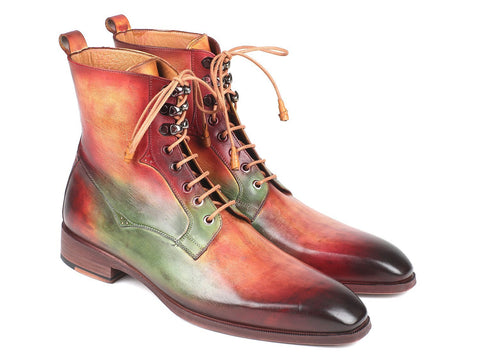 Paul Parkman Men's Green, Camel & Bordeaux Leather Boots (ID#BT533SPR)
