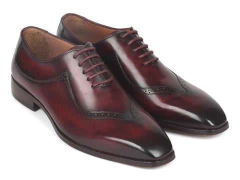 Paul Parkman Dark Bordeaux Hand-Painted Men's Oxfrods (ID#35BRD25)