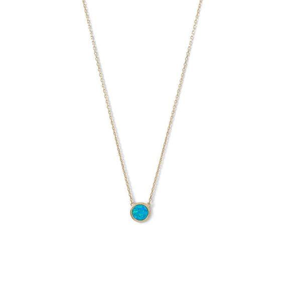 Mini Blue Opal Necklace, Necklaces, [GLITIC], [Personalized_Jewelry], [Vegan_Bags]
