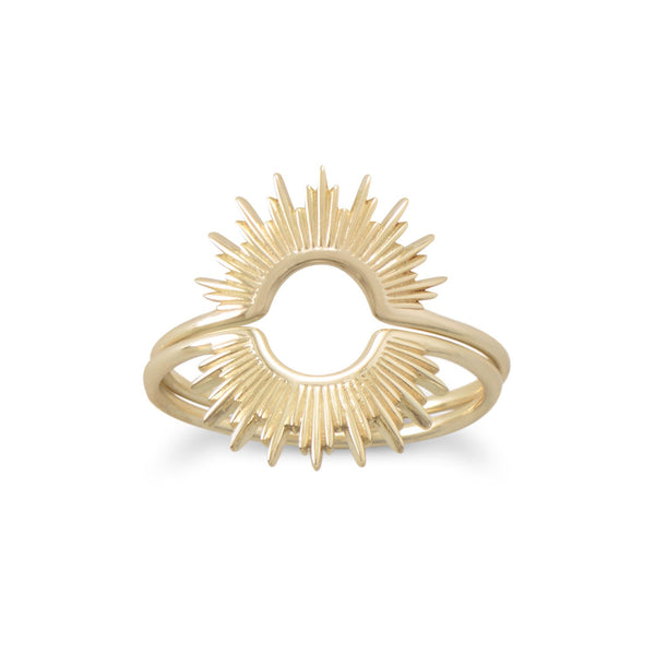 Gold Plated Sunburst Ring, Rings, [GLITIC], [Personalized_Jewelry], [Vegan_Bags]