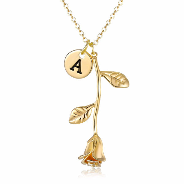 Necklaces Custom Initial Rose Pendant Necklace - GLITIC