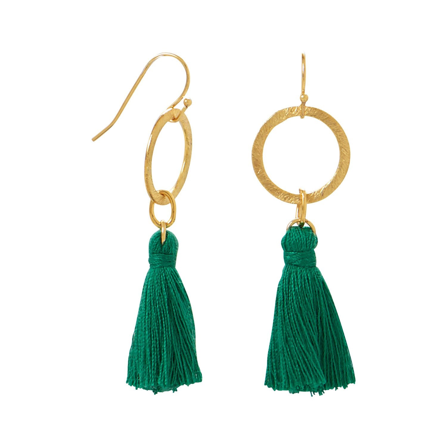 Green Threaded Tassel Earrings, Earrings, [GLITIC], [Personalized_Jewelry], [Vegan_Bags]