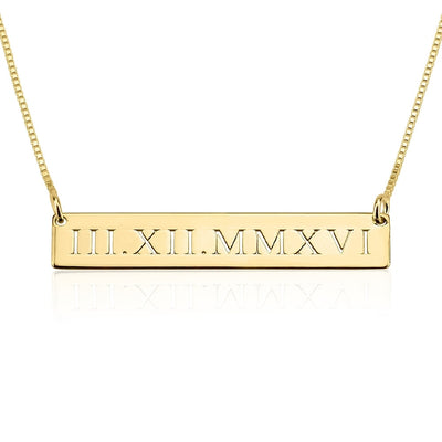 Necklaces Roman Numeral Date Necklace - GLITIC