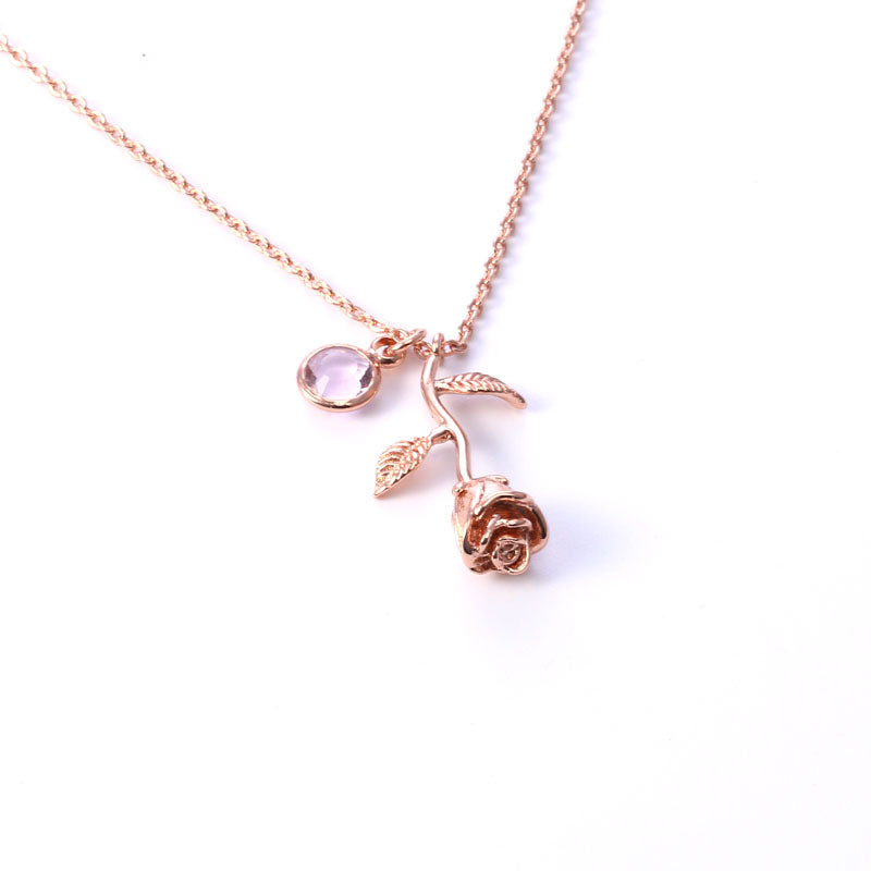 Necklaces Custom Birthstone Rose Necklace - GLITIC