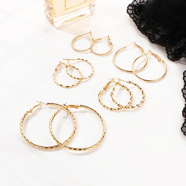 Earrings Gold Plated Hoop Earrings Set - GLITIC