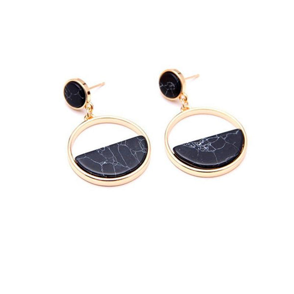Earrings Marble Drop Earrings - Black - GLITIC