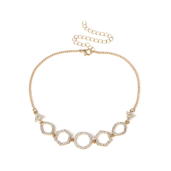 Necklaces Geometric Rhinestone Choker - Gold - GLITIC
