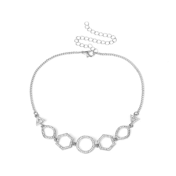 Necklaces Geometric Rhinestone Choker - Silver - GLITIC