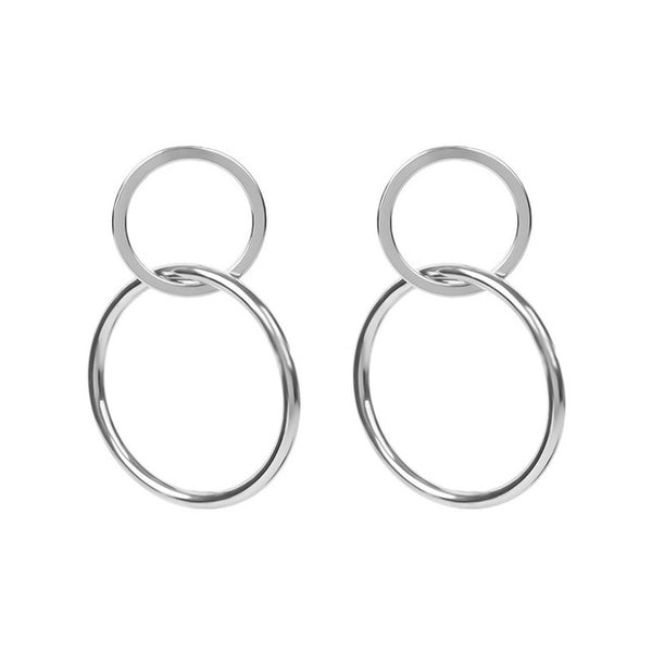 Earrings Minimalist Circle Stud Earrings - Silver - GLITIC