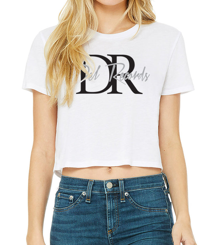Del Records Script Women's Flowy Crop Top