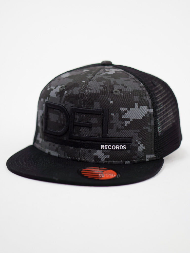 Del Records Gray Digital Camo Snap Back