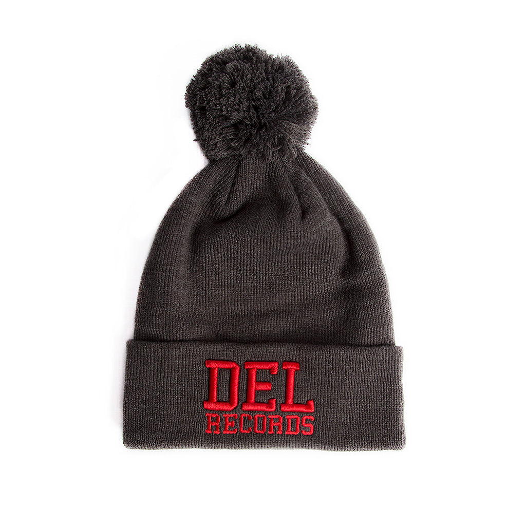Del Records College Beanie with Poof
