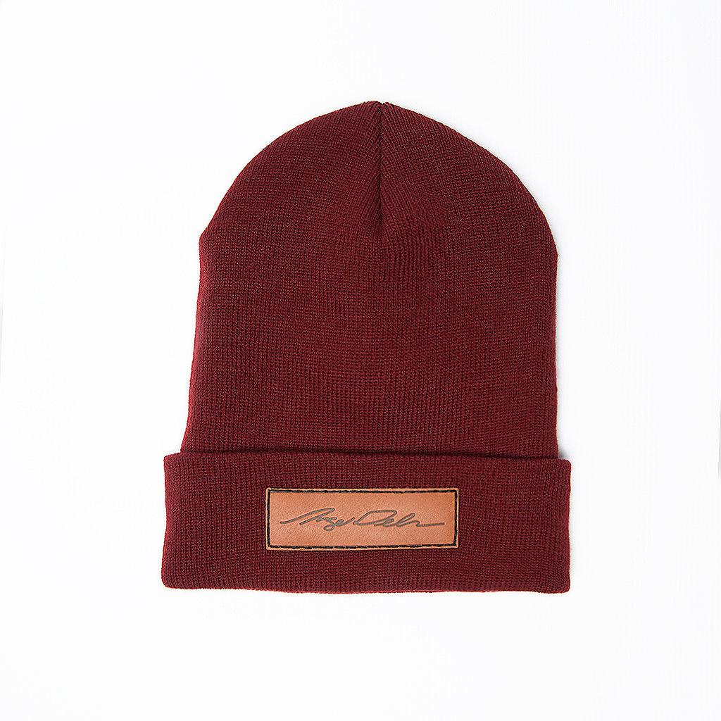 Angel Signature Leather Patch Beanie