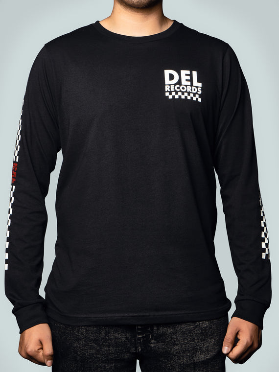 Del Records Checkered Long Sleeve Tee