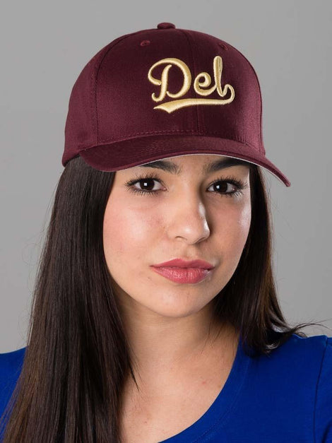 Del Baseball Script Flex Fitted Hat