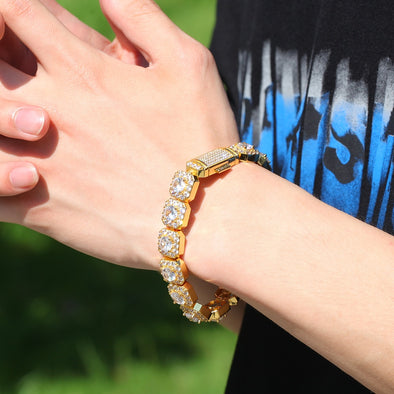 Gold Glacier Clustered Tennis Bracelet