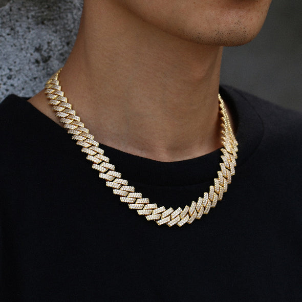 gold prong cuban necklace