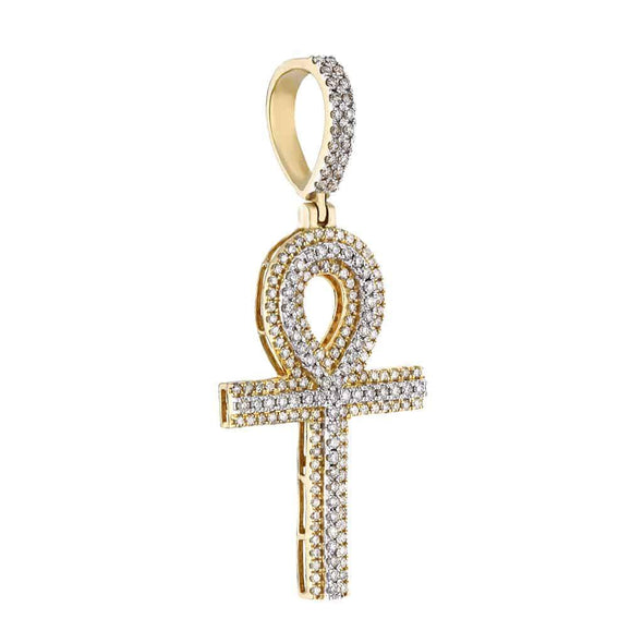 10k Gold Diamond Ankh Pendant