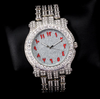 white gold red arabic watch