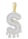 10K Yellow Gold Dripping Diamond Initial