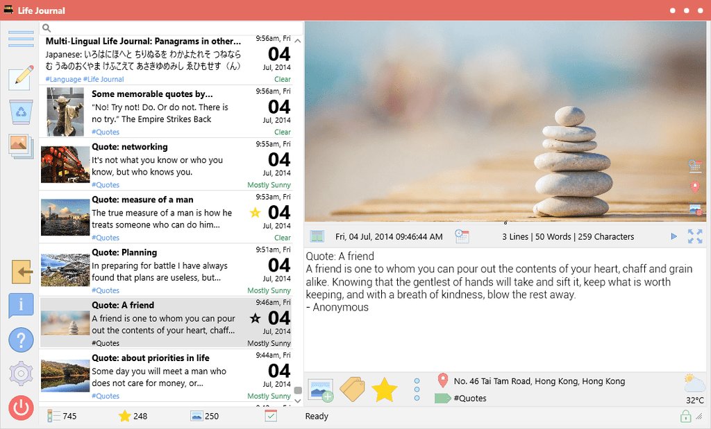 Life Journal 1.6.1.0: Improved Timeline Layout, performance and bug fixes