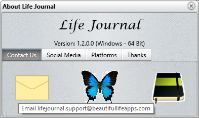 Life Journal - About Screen