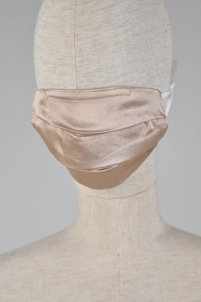 All Would Envy Accessories SILK PLEATED MASK IN CHAMPAGNE