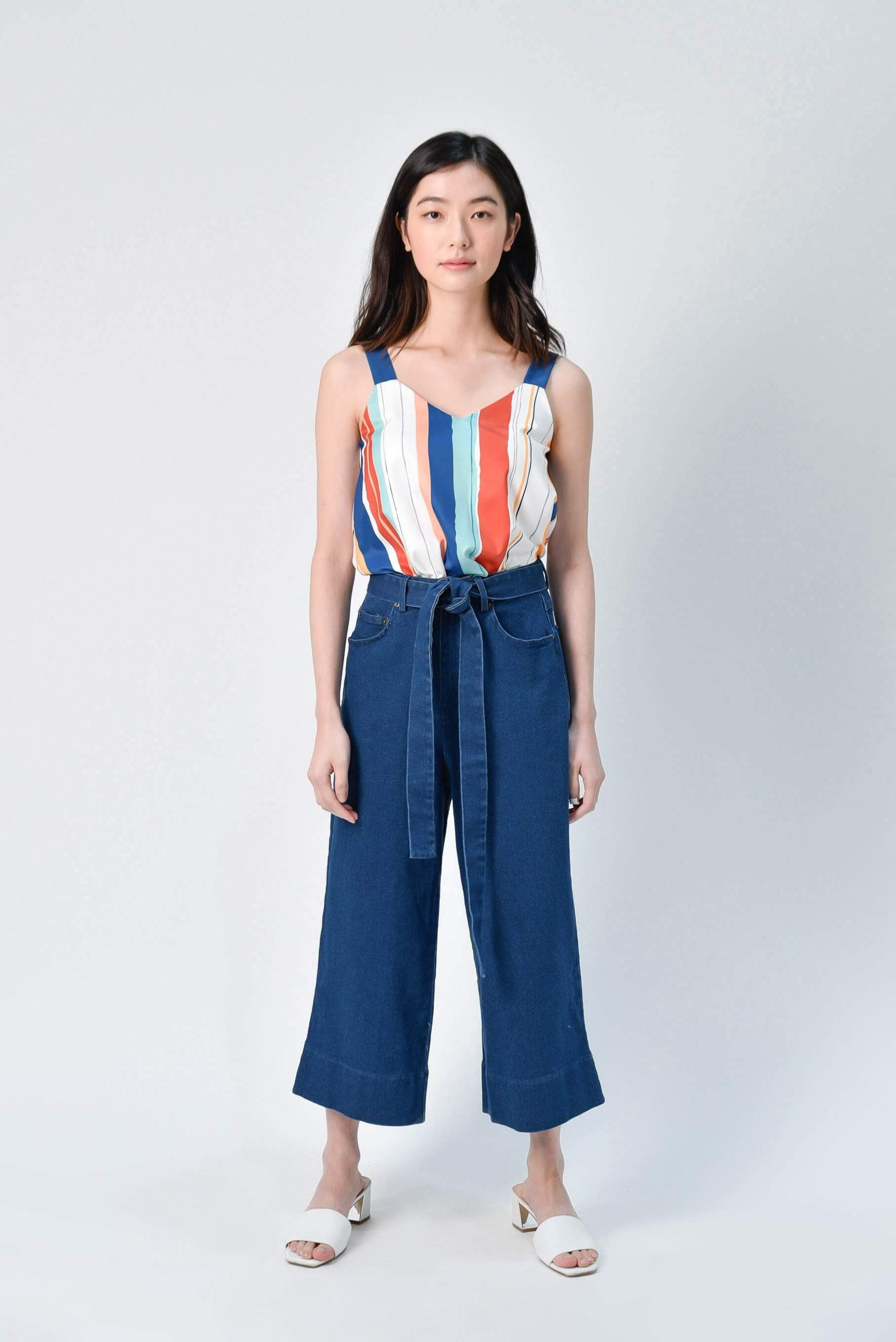 AWE Bottoms ARIEL DENIM CULOTTES IN DARK WASH