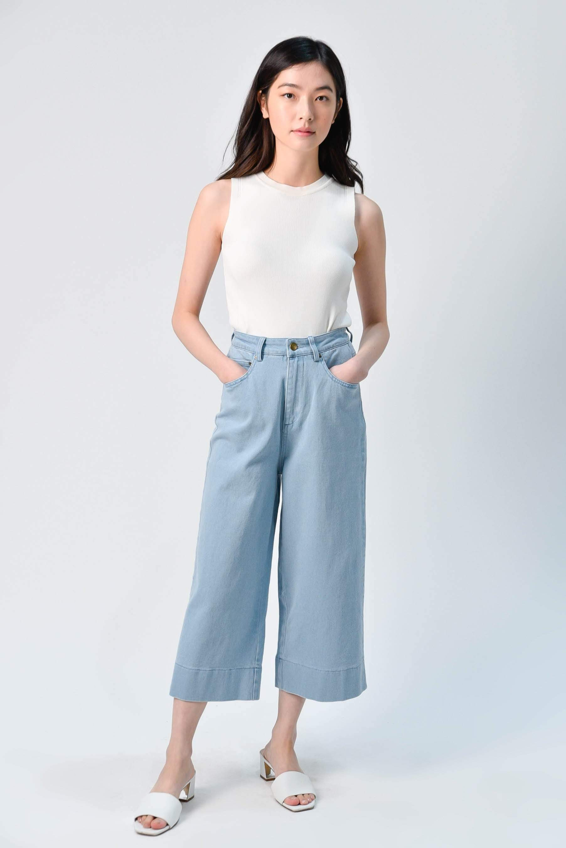 AWE Bottoms ARIEL DENIM CULOTTES IN LIGHT WASH