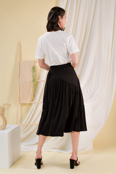 AWE Bottoms BRIGITTE MIDI SKIRT IN BLACK