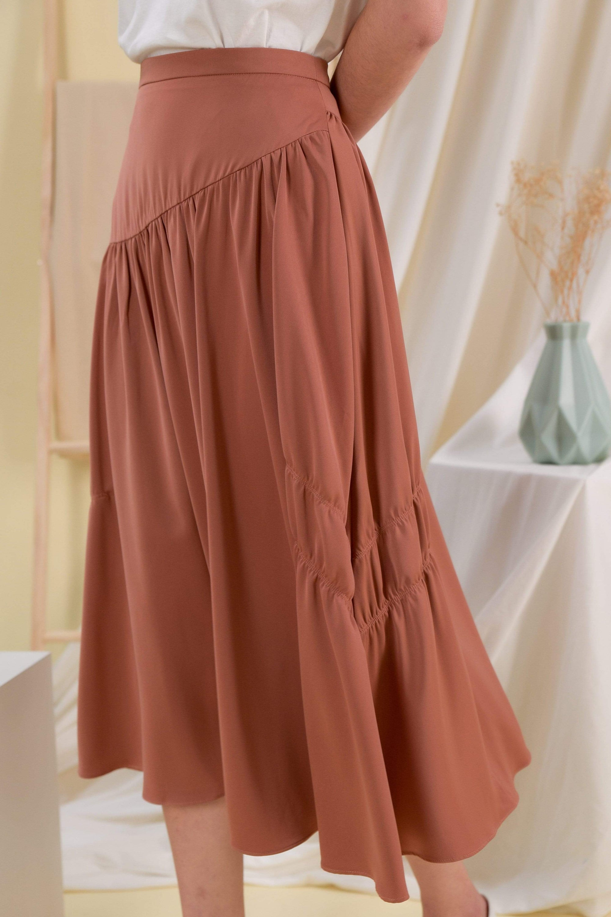 BRIGITTE MIDI SKIRT IN CHESTNUT