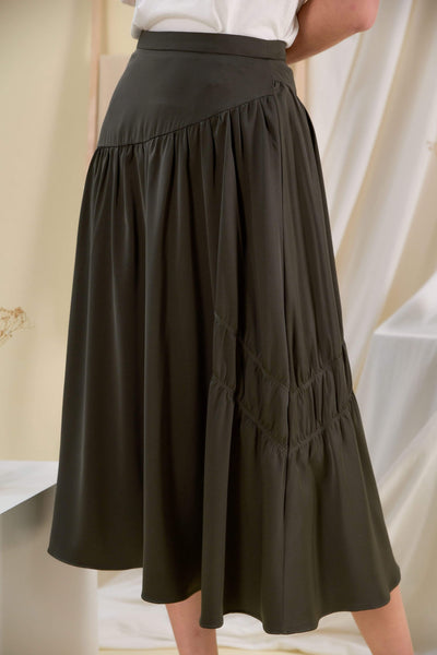 AWE Bottoms BRIGITTE MIDI SKIRT IN OLIVE