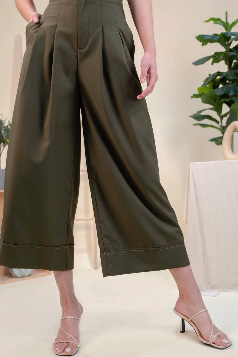 AWE Bottoms CELENE PALAZZO PANTS IN OLIVE