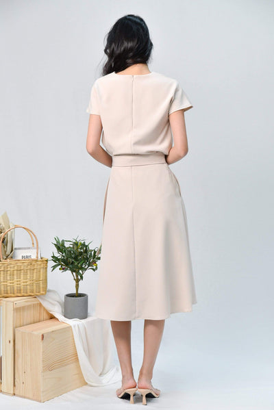 AWE Bottoms DAPHNE BEIGE BUCKLE-SASH MIDI SKIRT
